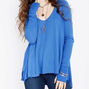 Free People Blue Thermal Long Sleeve Shirt